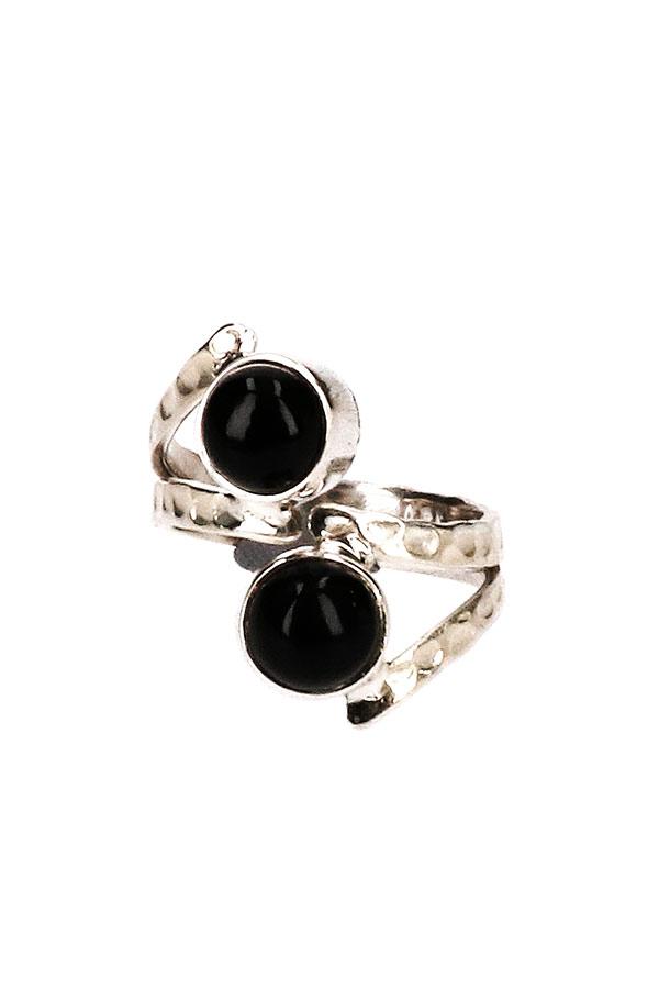 Zwarte Onyx zilveren ring, 925 sterling, verstelbaar