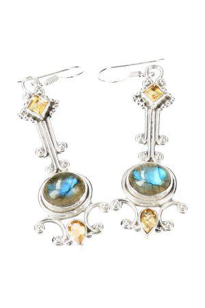labradoriet met citrien zilveren oorbellen, edelsteen oorbellen, edelstenen, juwelen, labradorite, citrine, kopen, sieraad