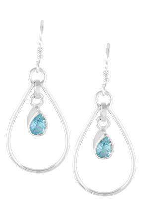 aquamarijn zilveren oorbellen, oorbellen druppelvorm, sterling zilver, aquamarine, kopen, edelsteen oorbellen, edelstenen oorbellen, hangers