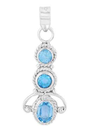 Aquamarijn zilveren hanger 3 bollen, 925 sterling, aquamarijn zilveren hanger, aquamarijn ketting, pendant, kopen, edelsteen hanger
