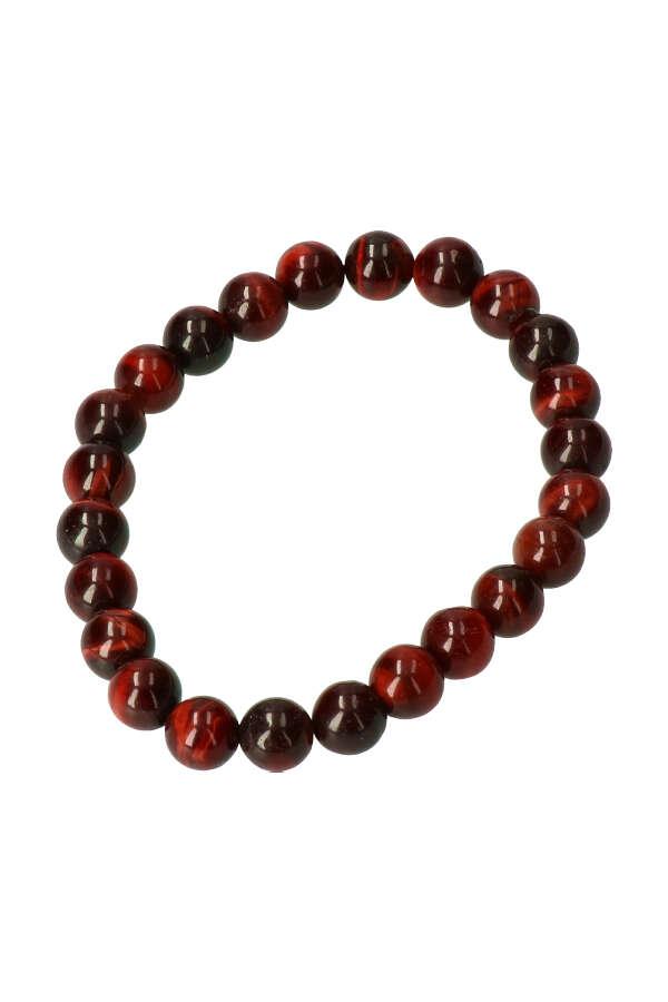 Rode Tijgeroog armband, 8 mm edelsteen kralen, 19 cm