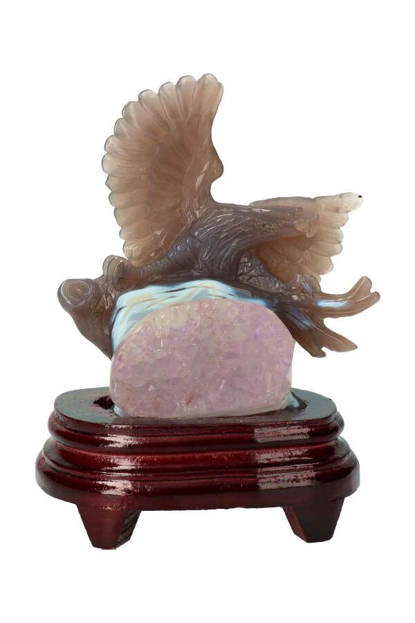 Amethist geode adelaar, 19 cm, 677 gram, inclusief gratis standaard, afneembaar