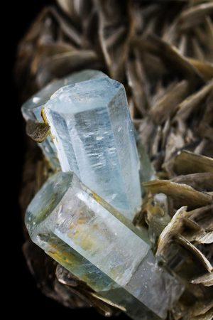 Aquamarijn op Muscoviet met albiet, kopen, moskoviet, aquamarine, aquamarin, blauw, moedersteen, ruw, specimen, Pakistan, aquamarijn op muscoviet, aquamarijn op matrix