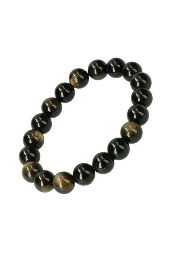 Goud Obsidiaan armband, 10 mm edelsteen kralen, 19 cm