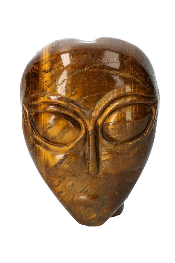 Tijgeroog alien kristallen schedel, 9.5 cm, 914 gram