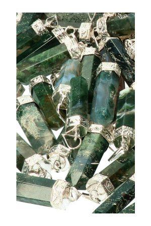 mosagaat punthanger, moss agate pendant, kopen, mos agaat hanger, sieraad, ketting, kopen, steen, edelsteen