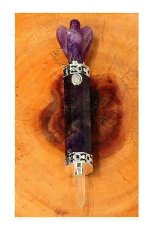 Amethist met Regenboog Maansteen Engel Healingwand zakformaat, Tibetaans zilver, healing wand, toverstaf, edelsteen staf, edelstenen staf,