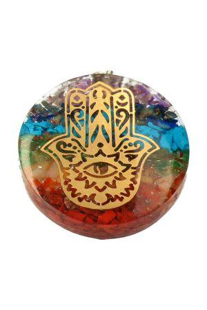 Orgoniet hand van Fatima hanger, hand of fatima pendant, kopen, orgone, orgonite, orgoniet, kopen
