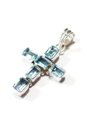 aquamarijn kruis, aquamarijn zilveren hanger, aquamarin pendant, blauw, aquamarijn kruisje, kopen