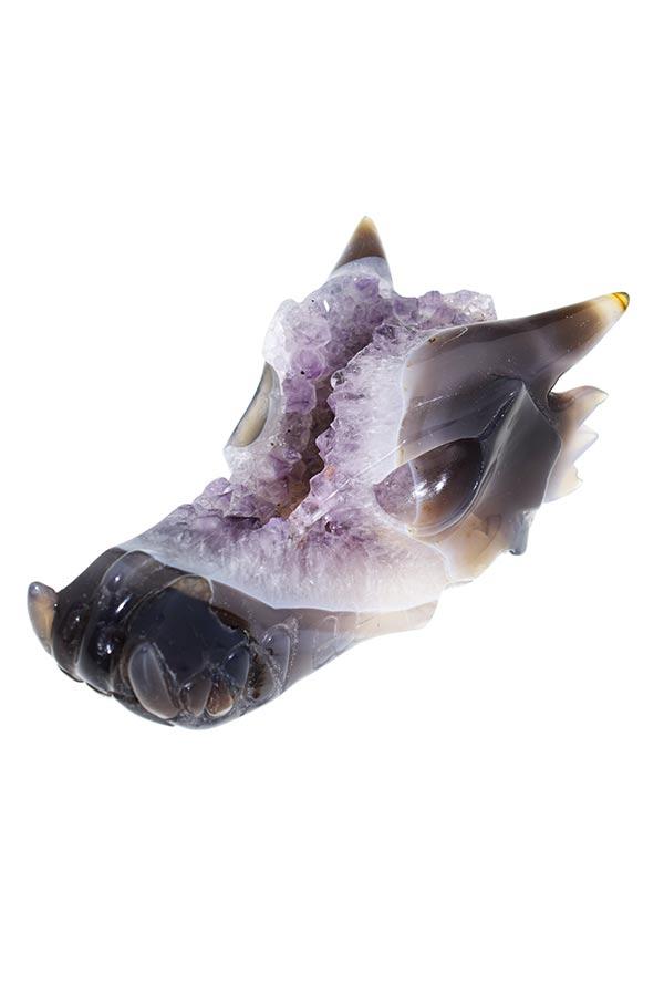 Amethist geode kristallen drakenschedel, 16 cm, 743 gram