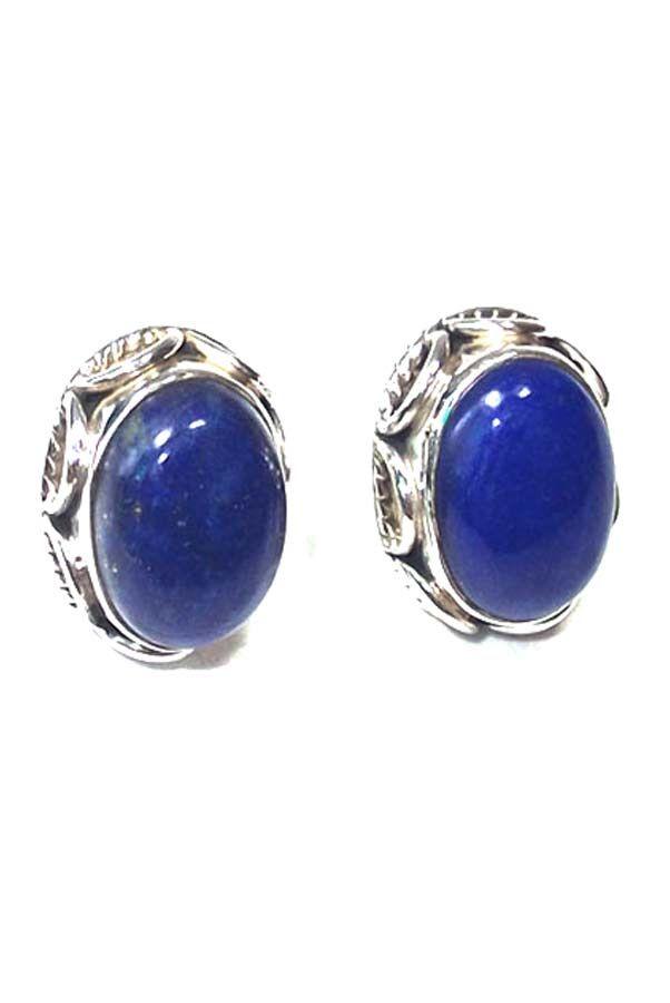 Lapis Lazuli oorstekers zilver (925 sterling), 10 x 14 mm