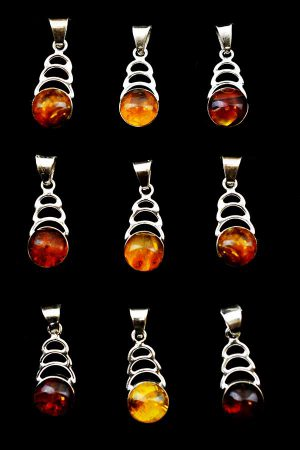 Barnsteen hanger, 925 sterling zilver, 2.5 cm (steen 1 cm), Dominicaanse Republiek, amber