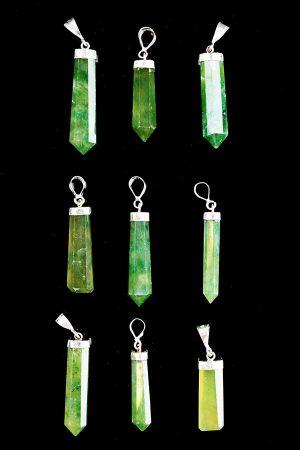 hyrdro grossulaar hanger zilver, hydrogrossular, grossulaar, groene granaat, kopen