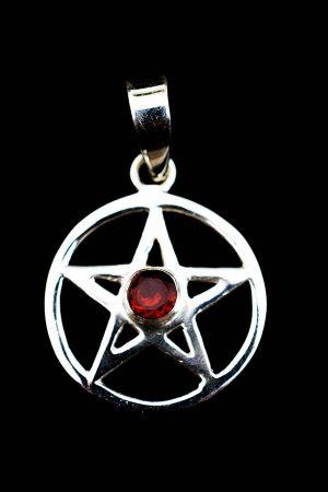 Granaat pentagram hanger, 925 sterling zilver, 2 cm