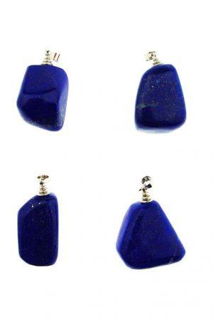 Lapis Lazuli natuurlijke edelsteenhangers, 3-4 cm, zilver oogje, Afghanistan