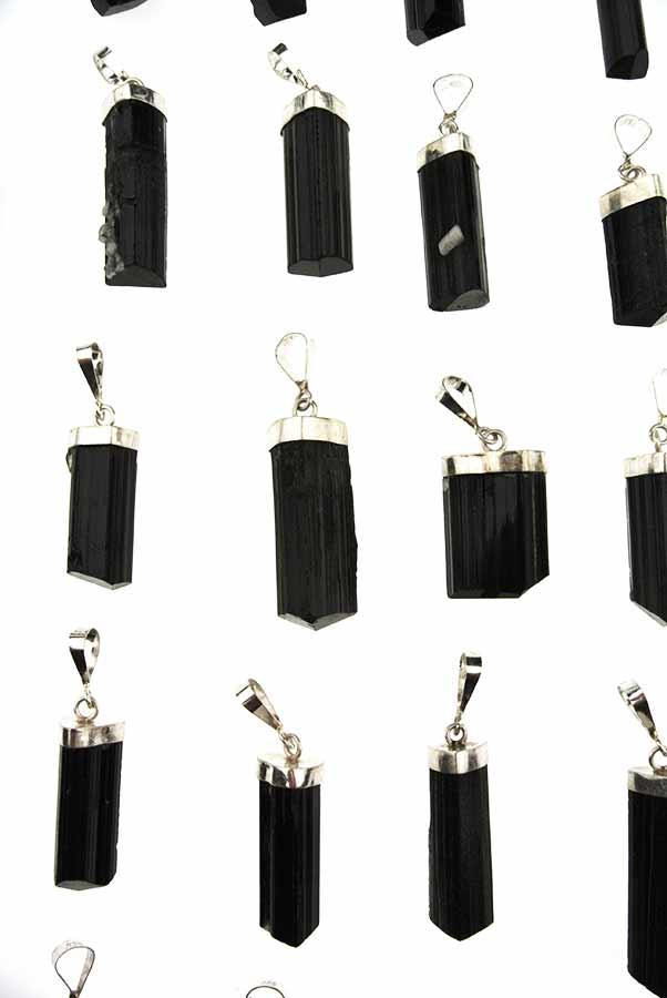 Zwarte Toermalijn zilveren hanger, 925 sterling, 2.5 cm - 5 cm