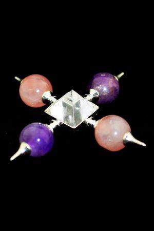 Gouden driehoek generator met bollen en piramide, 10-12 cm, kopen, edelsteen generator