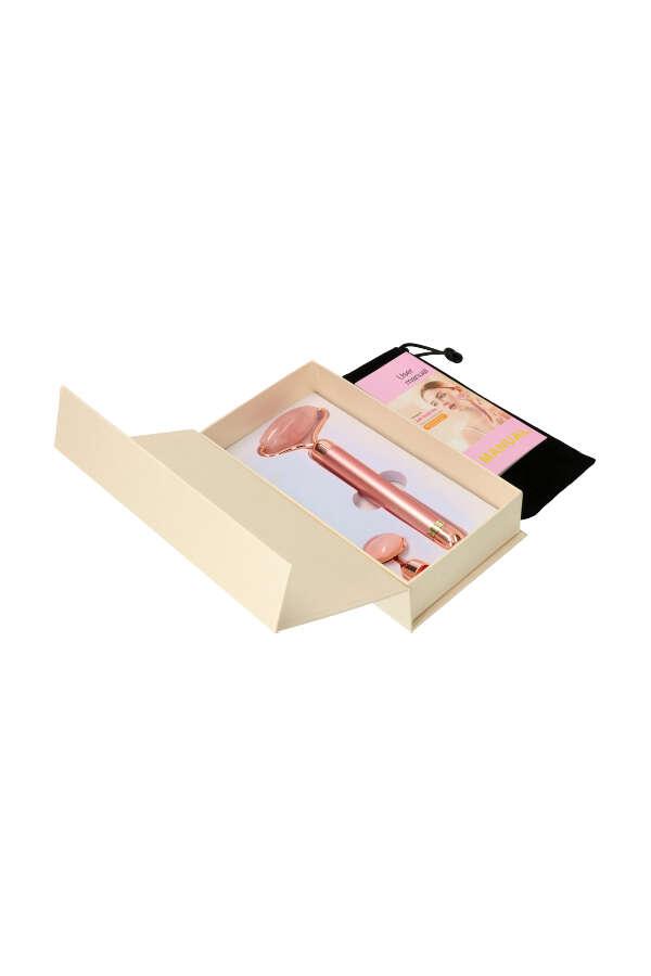 vibrerende massage roller, energy beauty bar, elektrisch massage roller, jade, rozenkwarts, rosequartz