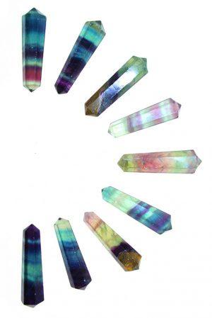 Regenboog fluoriet dubbelpunten, 4-5 cm, ideaal voor een grid, rainbow fluorite, dubbelpunters, dubbel punt, dubbele punt, kopen, grid, chakra, legging