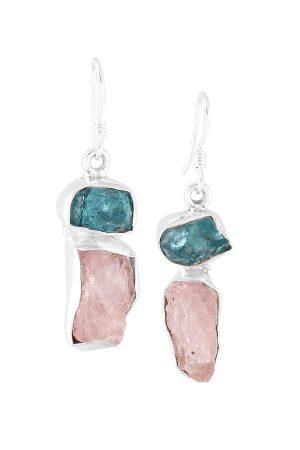 Oorbellen zilver Morganiet met Apatiet ruw, 4 cm, Silver, morganite, apatite, sieraden, sieraad, juweel, juwelen, edelsteen, edelstenen, ruw, earrings, kopen
