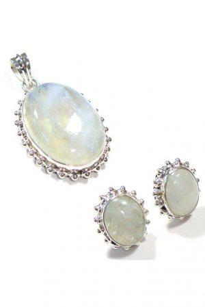 Regenboog maansteen zilveren sieraden set, hanger en oorbellen, 925 sterling