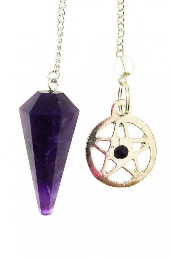amethist pendel, heksen, heksenkruis, pentagram, ster, kopen, amethist, amethyst, pendel, pendulum