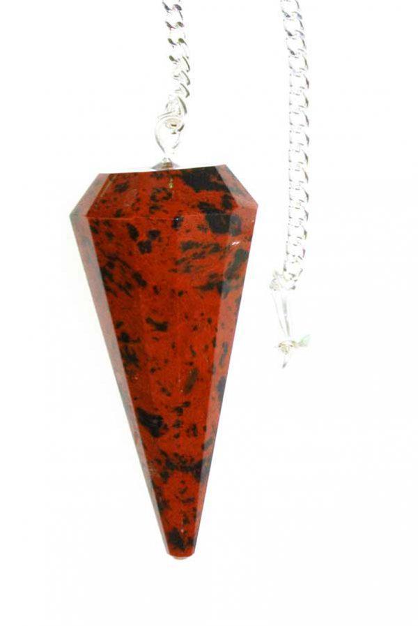 Mahonie obsidiaan pendel, 3-5 cm, gefacetteerd 6-vlak