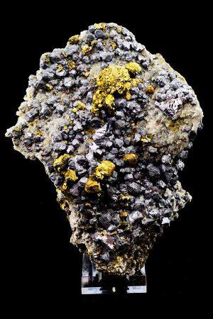 Pyriet ruw specimen, zilver en goud pyriet, Chalcopyriet, Albiet en Barriet, Mibladen, Marokko, specimen, ruw, uniek, zilver pyriet, goud pyriet