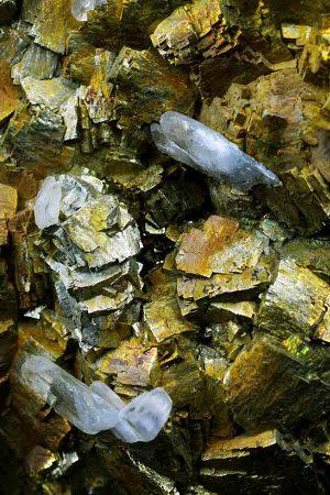 Pyriet met mooie heldere Bariet en Chalcopyriet, pyrite, barriet, kopen, verzamelaar, collector, speciaal, mineralen, mineraal, specimen