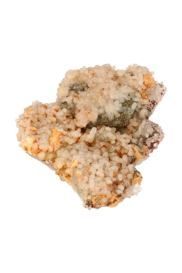 Fluoriet met Bergkristalpuntjes, Pyriet en Tangerine, ruw, specimen, kopen, fluorite, mineraal, mineralen
