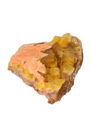 gele Fluoriet kubussen met dolomiet, ruw, specimen, kopen, fluorite, mineraal, mineralen