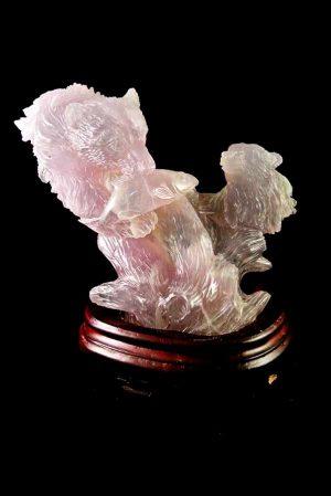 fluoriet beren, carving fluorite bears, edelsteen beeld beer