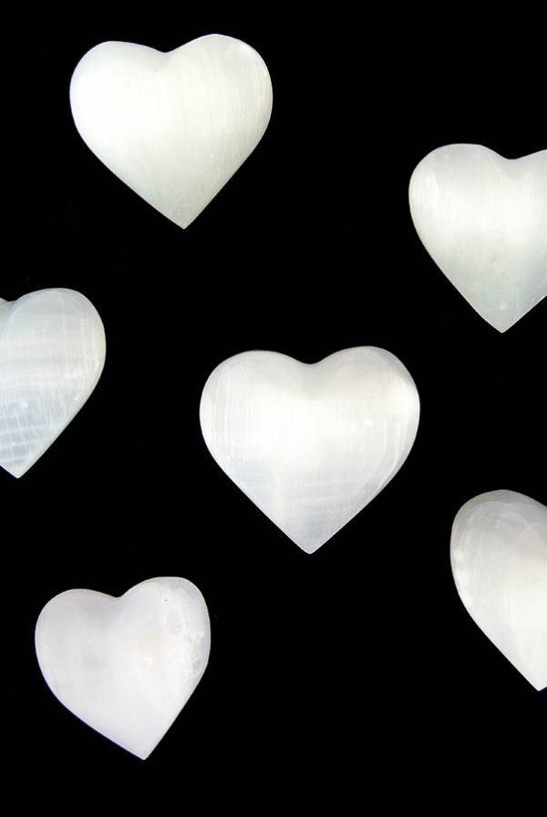 Seleniet hart, edelsteen hart, edelstenen hart, harten, kopen, seleniet, selenite, steen