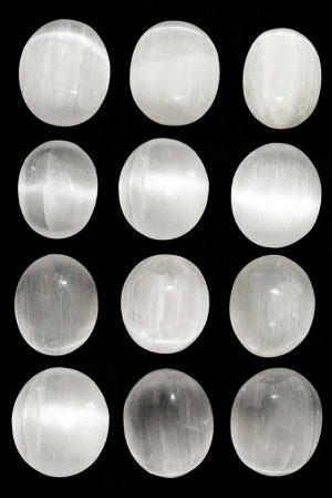 seleniet steen groot, seleniet gepolijst, trommelstenen, getrommeld, hand gepolijst, zaksteen, knuffelsteen, selenite, kopen