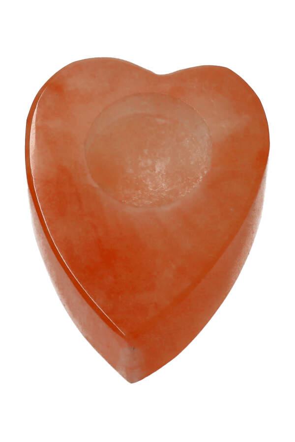 Oranje Seleniet hart vorm theelicht, 10 cm, 400-800 gram