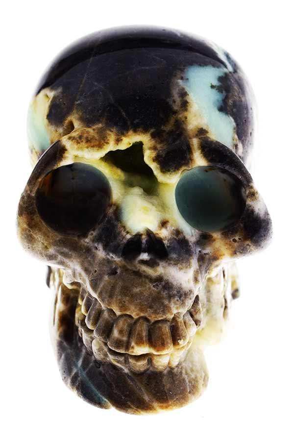 Amazoniet met Toermalijn schedel, 12 cm, 1.23 kilo