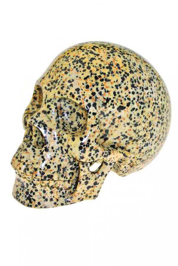 Dalmatier Jaspis realistische kristallen schedel, 12.5 cm, 1.39 kilo