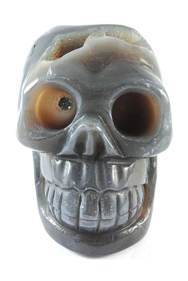 Agaat Geode kristallen schedel, 10 cm, 763 gram,