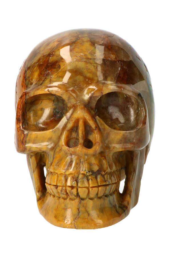Groene Agaat realistische kristallen schedel, 14 cm, 2.15 kg
