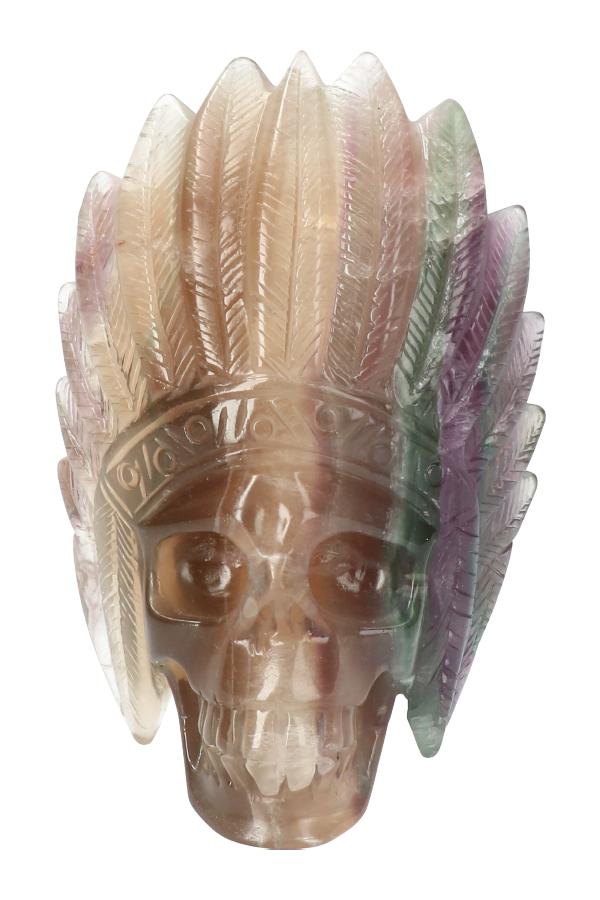 Regenboog fluoriet indianenschedel, 12 cm, 744 gram