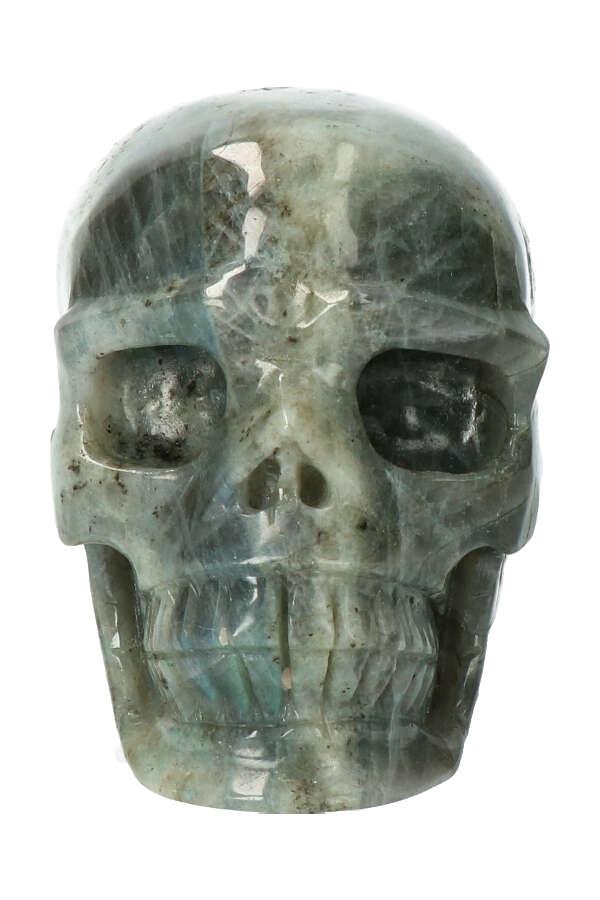 Labradoriet edelsteen schedel, 10 cm, 688 gram