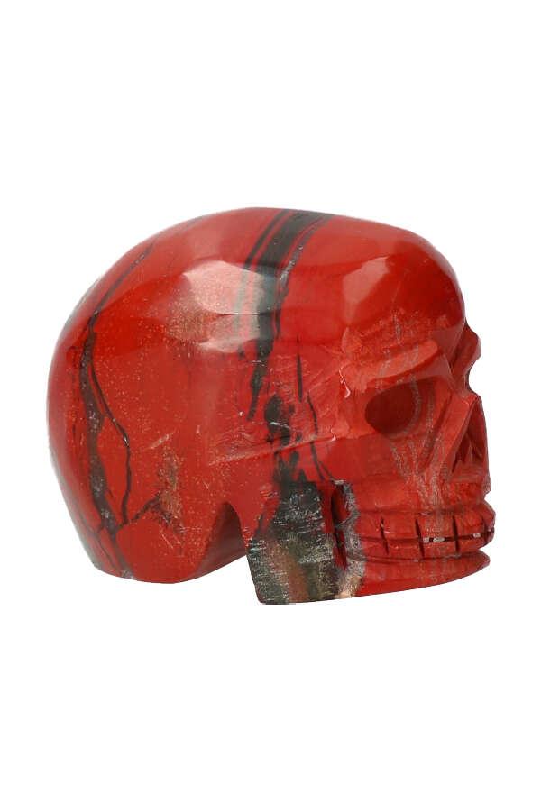 Rode Jaspis crystal skull, 7 cm, 320 gram