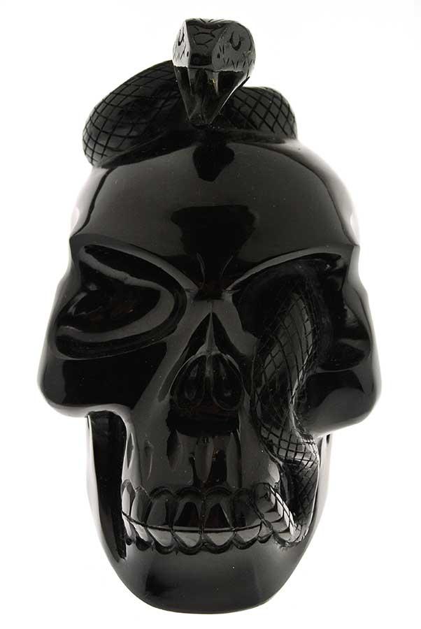 Obsidiaan slangenschedel, 12.5 cm x 7.5 cm x 11.5 cm, 900 gram