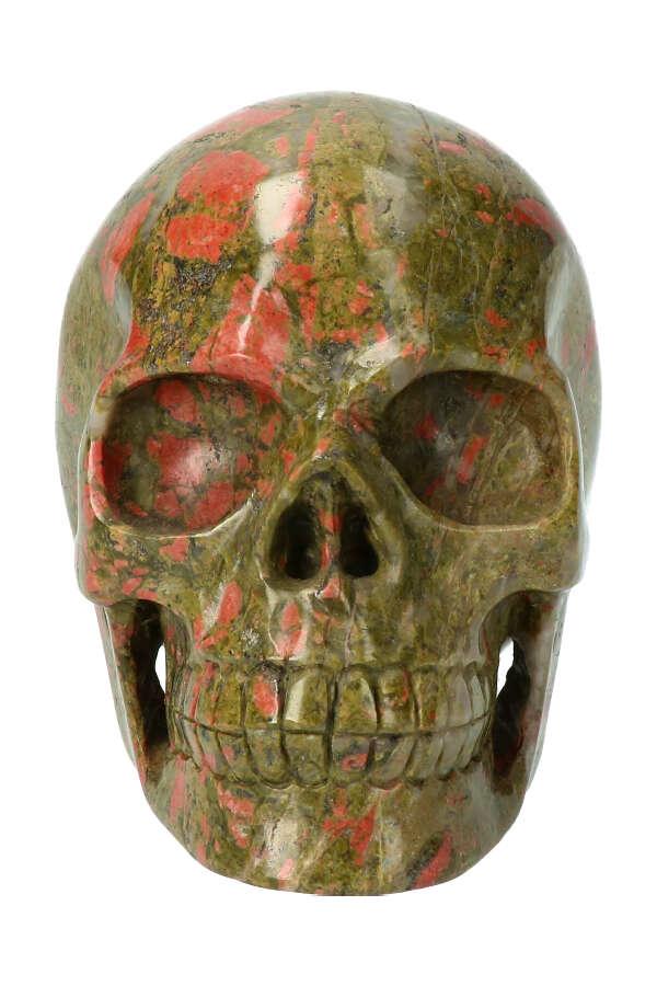 Unakiet met Bergkristal realistische kristallen schedel, 13.5 cm, 2 kilo