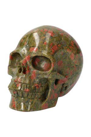 Unakiet met Bergkristal realistische kristallen schedel, unakite, crystal skull, unakiet schedel, kristallen schedel, kopen, unakiet schedel kopen,, Unakiet realistische kristallen schedel