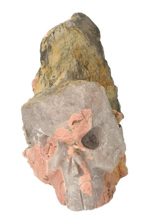 Elestiaal kwarts met Chloriet en Dolomiet kristallen schedel, Elestiaal kwarts met Chloriet en Dolomiet, elestial, candle quartz, alligator, bijzonder, kristallen schedel, crystal skull
