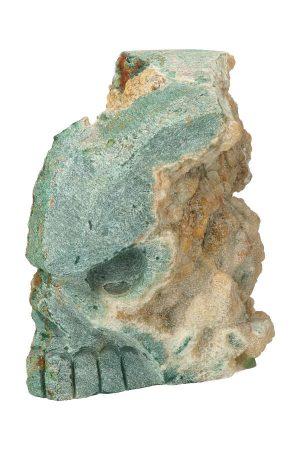 chloriet met Calciet kristallen schedel, ruwe calciet, calcite, crystal skull, kopen
