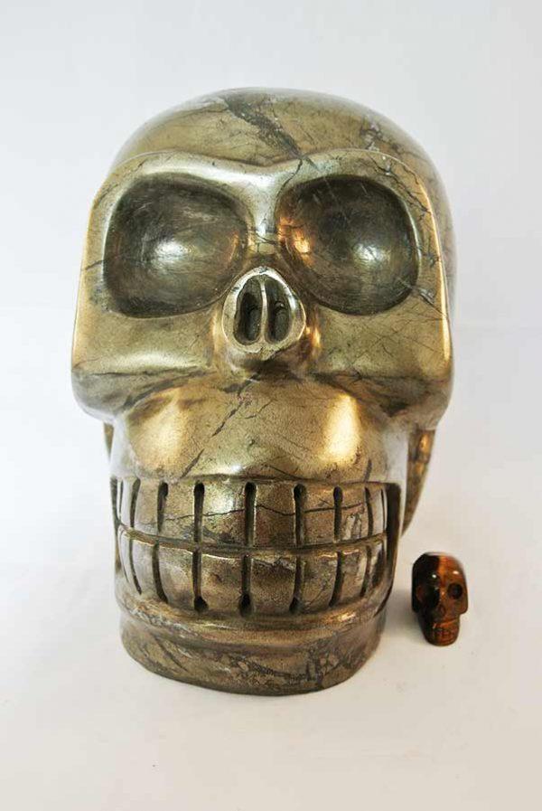 pyriet crystal skull, kristallen schedel pyriet, pyriet schedel, pyriet skull, pyriet crystal skull groot, 10 kg