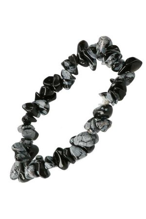Sneeuwvlok Obsidiaan splitarmband, 18 cm, snowflake obsidian cips bracelet, kopen, edelstenen, edelsteen, armband, armbandje, steentjes, spiritueel