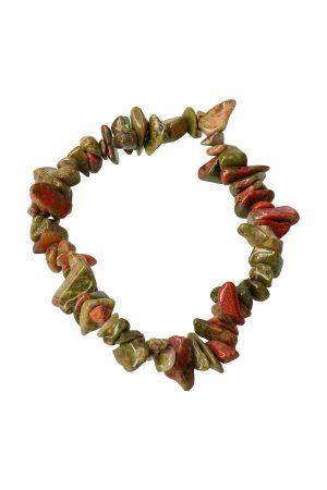 Unakiet splitarmband, 18 cm, unakite chips bracelet, kopen, edelsteen armband, edelstenen